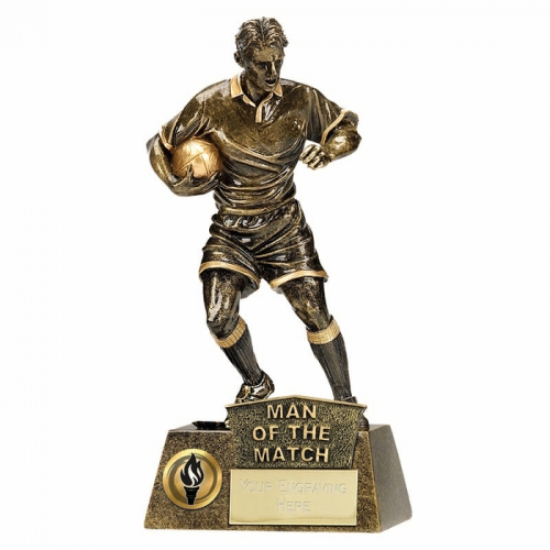 PINNACLE Rugby Trophy Award Man of the Match - AGGT - 8.75 Inch (22cm) - New 2018