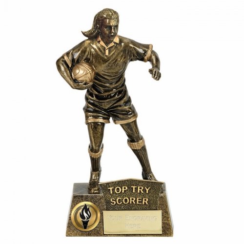PINNACLE Female Rugby Trophy Award Top Try Score - AGGT - 8.75 Inch (22cm) - New 2018