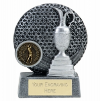 VISTA Golf Trophy Award - Ant Silver/Silver - 4 inch (10cm) - New 2018