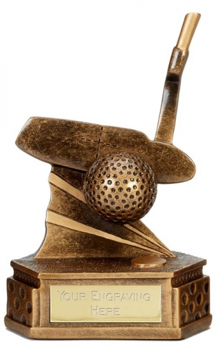 Hexagon Golf Trophy Award Putter 6 1/8 Inch (15.5cm) : New 2020