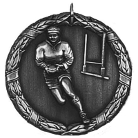 Laurel50 Rugby Medal Silver 50mm