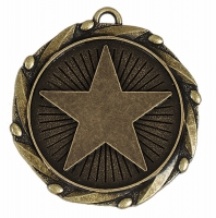Combo Star Medal & Ribbon Ant Gold 45mm FREE Red White and Blue Ribbon