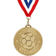 Football Medal Gold 50mm with FREE Red White and Blue Ribbon 22mm