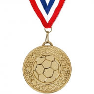 Target50 Football Medal with FREE Red White and Blue Ribbon Gold 50mm