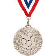 Target50 Football Medal with FREE Red White and Blue Ribbon Silver 50mm