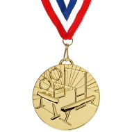 Target50 Gymnastics Medal with FREE Red White and Blue Ribbon Gold 50mm