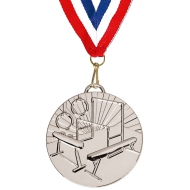 Target50 Gymnastics Medal with FREE Red White and Blue Ribbon Silver 50mm