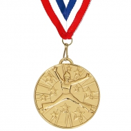 Target50 Dance Medal with FREE Red White and Blue Ribbon Gold 50mm