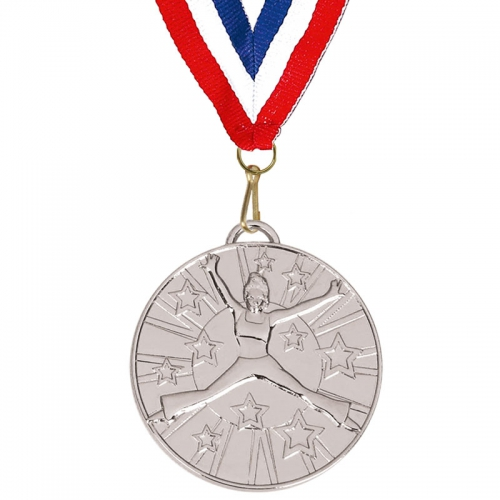 Target50 Dance Medal with FREE Red White and Blue Ribbon Silver 50mm