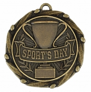 Combo Sports Day Medal & Ribbon Ant Gold 45mm