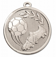GALAXY Football Boot & Ball Medal Silver 45mm