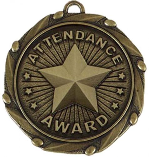 COMBO Attendance Medal with 10mm R/Gold/Red/White/Blue 45mm