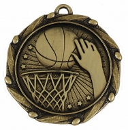 COMBO Basketball Medal with 10mm R/Gold/Red/White/Blue 45mm