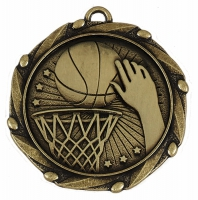 COMBO Basketball Medal with 10mm Gold FREE Red White and Blue Ribbon 45mm