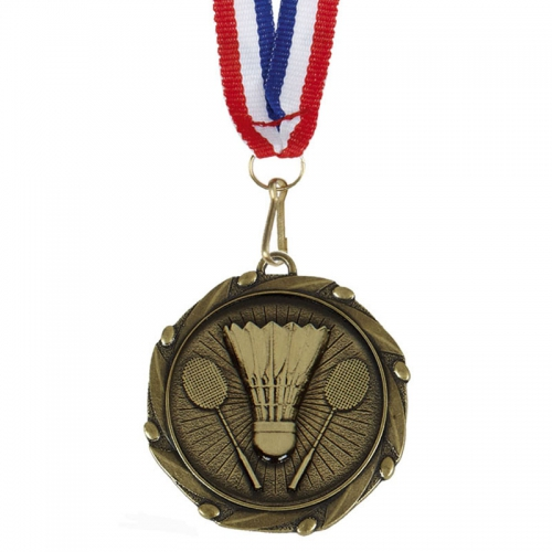 COMBO Badminton Medal with 10mm Gold FREE Red White and Blue Ribbon 45mm