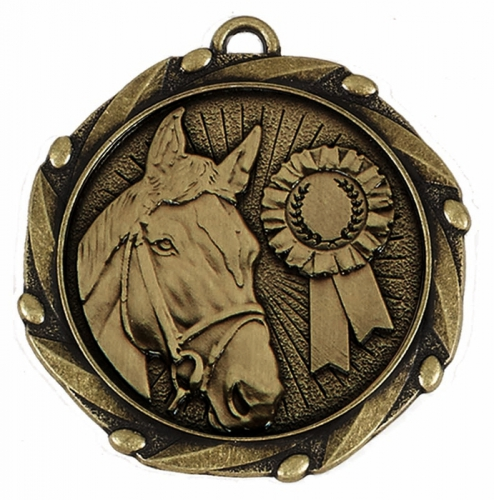 COMBO Horse Medal with 10mm Gold FREE Red White and Blue Ribbon 45mm