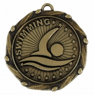 COMBO Swimming Medal with 10mm Gold FREE Red White and Blue Ribbon 45mm