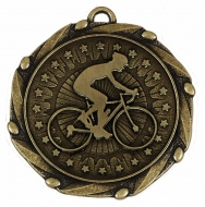 COMBO Cycling Medal with 10mm R/W/B Gold/Red/White/Blue 45mm