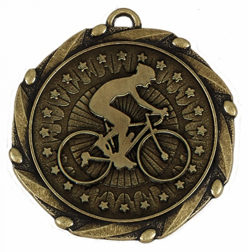 COMBO Cycling Medal with 10mm Gold FREE Red White and Blue Ribbon 45mm