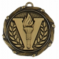 COMBO Victory Medal with 10mm R/W/B Gold/Red/White/Blue 45mm