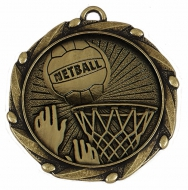 COMBO Netball Medal with 10mm R/W/B Gold/Red/White/Blue 45mm