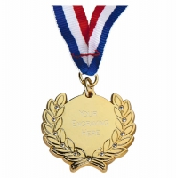 Diamond Bling Medal with Ribbon Gold 45 x 41mm