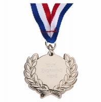 Diamond Bling Medal with Ribbon Silver 45 x 41mm