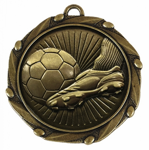 Combo Football Boot and Ball Medal 45mm with FREE Red White and Blue Ribbon