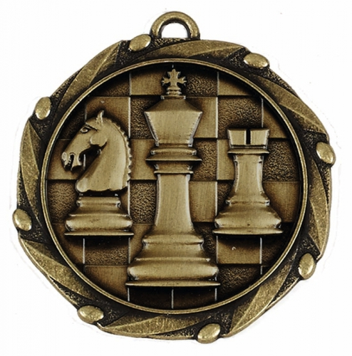 Combo45 Chess - Gold FREE Red White and Blue Ribbon - 45mm diameter- New 2018