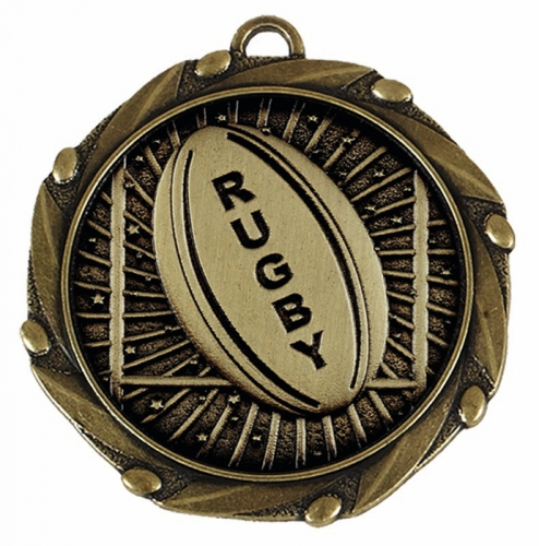 Combo45 Rugby Trophy Award - Gold FREE Red White and Blue Ribbon - 45mm diameter- New 2018