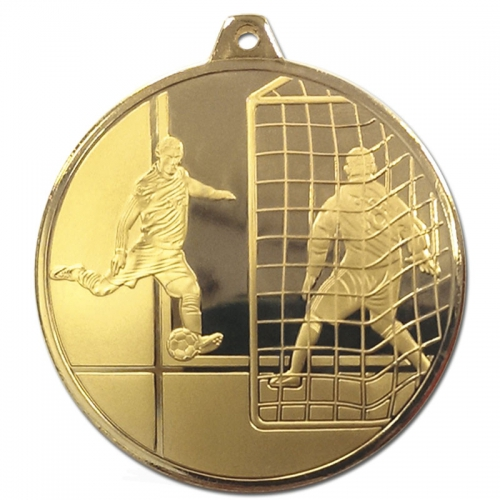 Frosted Glacier Footballer Medal Gold 50mm