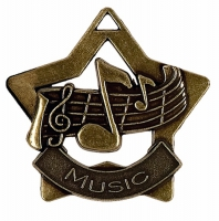 Mini Star Music Medal Bronze 60mm