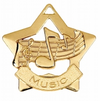 Mini Star Music Medal Gold 60mm