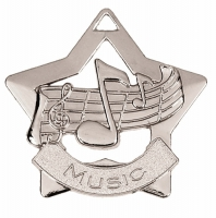 Mini Star Music Medal Silver 60mm