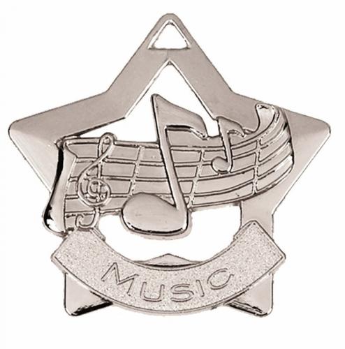 Mini Star Music Medal Silver 60mm