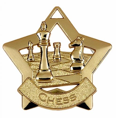 Mini Star Chess Medal Gold 60mm