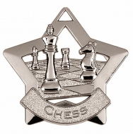 Mini Star Chess Medal Silver 60mm