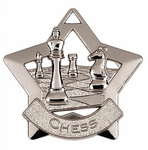 Mini Star Chess Medal Silver 60mm