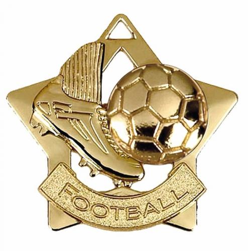 Mini Star Football Medal Gold 60mm