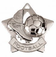 Mini Star Football Medal Silver 60mm