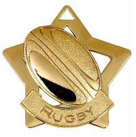 Mini Star Rugby Medal Gold 60mm