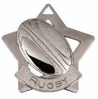Mini Star Rugby Medal Silver 60mm