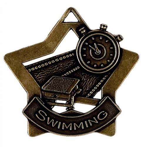 Mini Star Swimming Medal Bronze 60mm