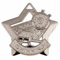 Mini Star Swimming Medal Silver 60mm