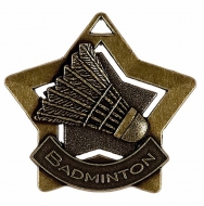 Mini Star Badminton Medal Bronze 60mm