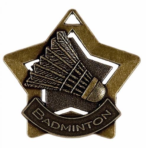 Mini Star Badminton Medal Bronze 60mm