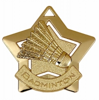 Mini Star Badminton Medal Gold 60mm