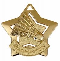 Mini Star Badminton Medal Gold 60mm