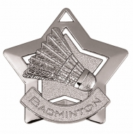 Mini Star Badminton Medal Silver 60mm
