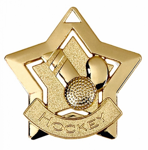 Mini Star Hockey Medal Gold 60mm
